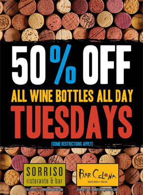 All Wine Bottles All Day 50% Off - Tuesdays